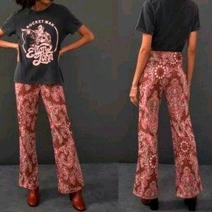 Anthropologie Maeve Floral Pull on Pants